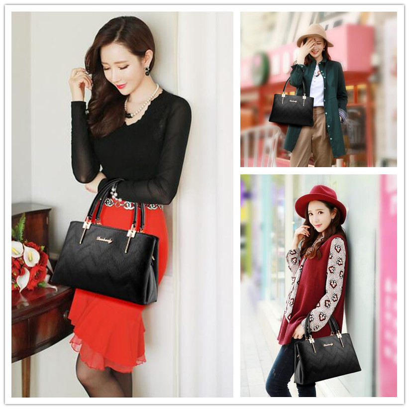 Female handbags 2018 Europe and American new handbags ladies hand shoulder Messenger bag female pu leather embossed large bags