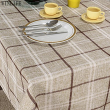 WINLIFE Grid Table Overlays Polyester And Linen Tableclothes Light Gray Grid Table Cloth(China)