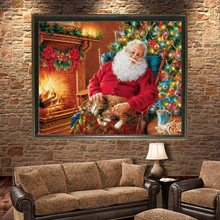 5D DIY Diamond Painting Kit Rhinestone Embroidery Cross Stitch Full Drill Arts Home Wall Sleeping Santa Claus 30*40cm Best Gift(China)