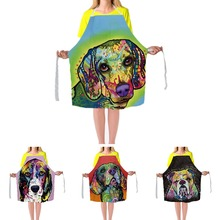 Cute Beagle Dog Aprons Art Painting Animals Big Size Adjustable Strap Apron Colorful Man Women Kitchen Cooking Customize Aprons
