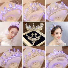 Hot Luminous Crown Women Brithday Party Wedding Hair Decorations LED Lights Tiara Crown Bride Flower Queen Crown Hair Jewelry
