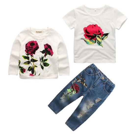 Girls Fashion suits 100% Cotton 2017 Autumn Rose Flowers Coat+Jeans Pants+Tshirts Outfits Kids 3PCS Sets CHildrens Clothes 2-9Y<br>