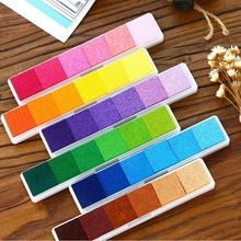 2017 Newest Non-Toxic Gradient Color Ink Pad Inkpad Rubber Stamp Oil Based Finger Print Nice Gift for Children Stamp DIY Art