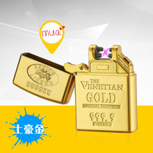 Zinc Alloy Shell Creative Gold Brick Lighters Current Double Arc Ignition Lighter USB Charging Electronic Cigarette Lighter