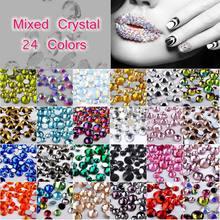 300pcs Pack Flat Back AB Rhinestone 3D Nail Crystal 24 Colors DIY Shiny  Diamond Sequin Nail Art Sparkly Decoration Tool SS4-SS16 525255c5df31