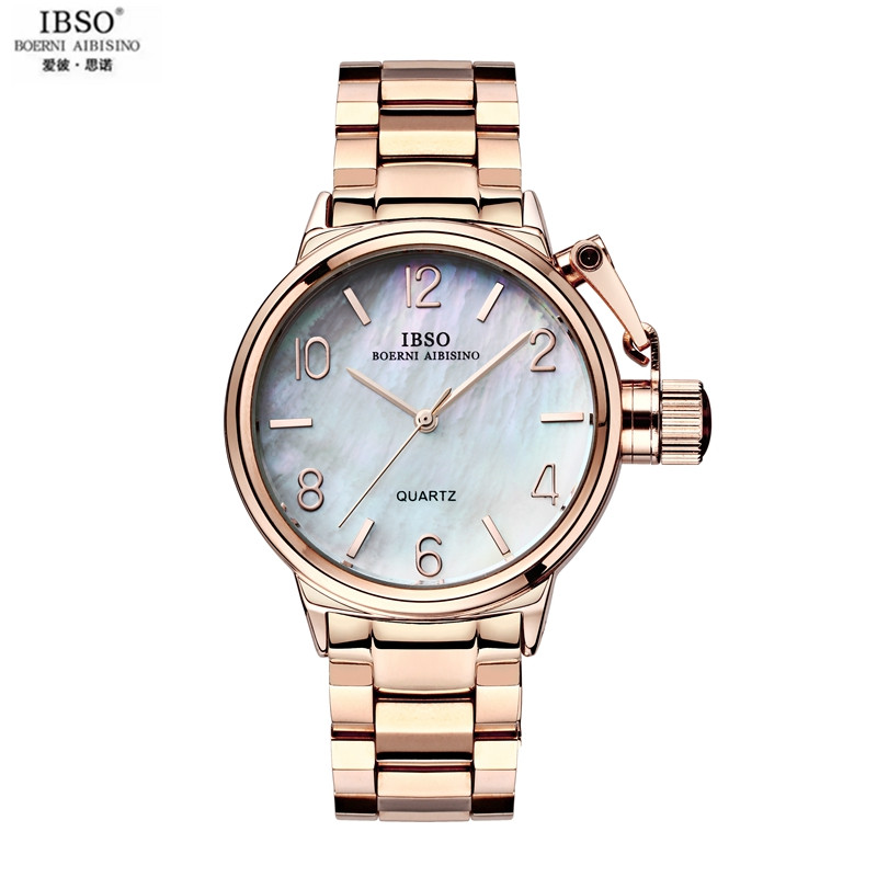 IBSO Ms Dial Shell Surface Waterproof Quartz Watch The Fashion Leisure Neutral Luxury Business Watch For Lover Lady Big Dial<br>