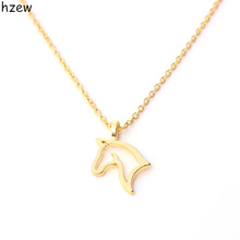 hzew fashion cute animal retro personality hollow out horse Metal Necklace&Pendants For Women