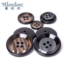 15mm 18mm 20mm 23mm 25mm 30mm10PCS/LOT bright  4-holes polish resin button for coat,suit,jackets ripple dark buckle2017  Z122