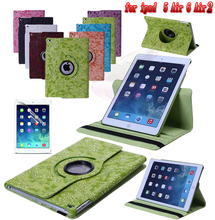 Free 360 grape PU Leather Rotating Smart Stand For Apple ipad air 1 A1474`A1475`A1476 or for air 2 A1566`A1567 Tablet Case(China)