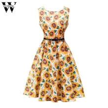 Dress 2017 Sleeveless sunflower print dress wind retro big dress Sep28(China)
