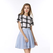 New Summer Fashion OL Style Womens Black White Grid Short Sleeve Shirt Women O-Neck Tops Plus Size