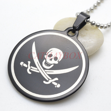 Free Shipping Black stainless steel Jolly Roger Pirate skull Crossing Swords Round Charm Pendant Free Chain 60cm Long