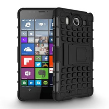 Tire Style Tough Rugged Dual Layer Hybrid Kick Stand Case for Microsoft Nokia Lumia 950 Dual SIM 5.2'' Duty Kickstand Phone Case