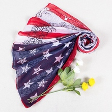 [Visual Axles] USA Flag Scarf 2017 Womens' Vintage Print Skull And American Flag Scarfs