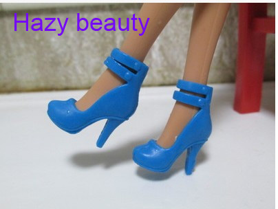 Barbie Similar 1//6 Doll Sky Blue Chains Hi Heel Shoes