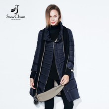 SnowClassic winter jacket women free scarf Slim Coats Female Warm Parka thick Outwear soft bio down Padded Regular long jackets(China)