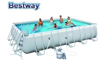 "56471 Bestway 6.71x3.66x1.32m(22'x12'x52"") Power Steel Rectangular Frame Pool Set with Sand Filter,Safety Ladder,Mat & Cover"