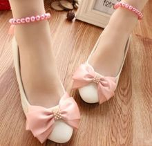 NEW MIDDLE/LOW/HIGH HEELS white pumps shoes with PINK bow, TG002 beading pearls bracelets WEDDING/party/dress pump on sales!
