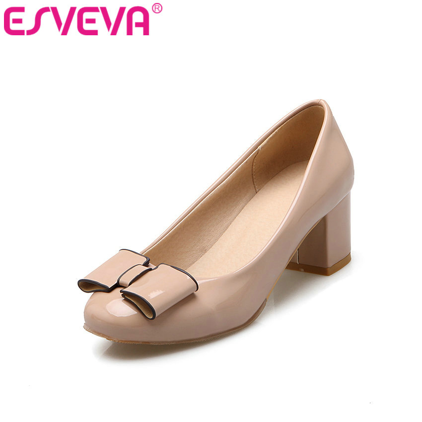 ESVEVA 2017 Med Heel Women Pumps Bow Tie OL Work  Shoes Square Heel Round Toe Womens Wedding Shoes Slip on Pumps Big Size 34-43<br>