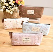 kawaii Life style Floral canvas Pencil Case Zipper Pencil Bags writing case For Kids School Supplies Korean Stationery(China)