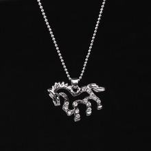 New Fashion Rhinestone Running Horse Charm Pendant Chain Necklace Alloy Fine Jewelry Gift M558 @M23