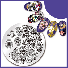 1Pc Nail Stamping Plate SKull Rose Pattern 5.5cm Round Manicure Stamp Image Plate 28