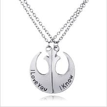 European and American fashion jewelry Star Wars Rebel badge I love you I know couple Pendant Necklace FREE SHIPPING