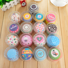 100pcs/Lot Rainbow Color Paper Cupcake Mold Muffin Cupcake Paper Cups Tray Baking Decorating Tools Pastry Molds Bakeware(China)