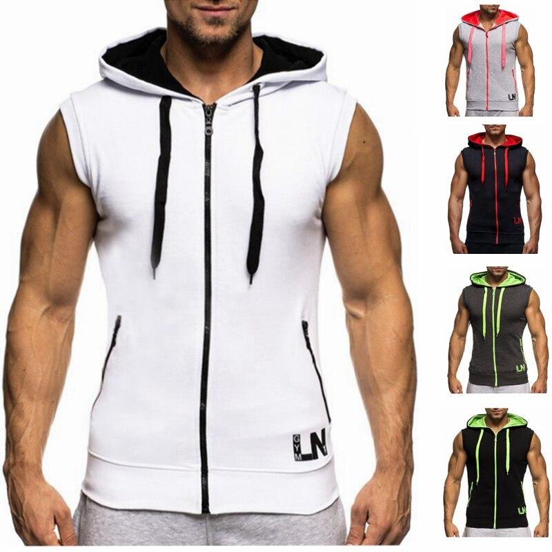 Male Bodybuilding Hoodies Fitness Clothes Hoody Cotton Hoodie Men Sweatshirts Men's Sleeveless Tank Tops Casual Vest 3
