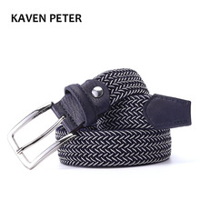 "Mixed Color Elastic Belt Men Woven Elastic Stretch Belt Braided Knitted Stretch Belt With Covered Buckle1-3/8"" Wide High Quality(China)"