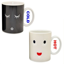 (Video Ad)  1Piece 9oz Ceramic Morning Mug Heat Sensitive Color Change Coffee Cup Sleepy Eyes Office Drinkware