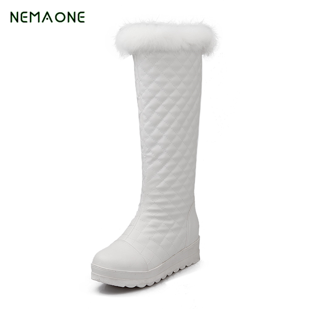NEMAONE New keep warm winter snow boots for women shoes patent leather fashion thick fur footwear knee high boots<br>