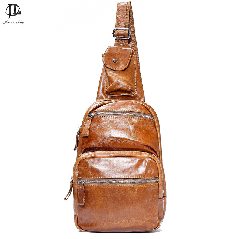 Large Capacity Trend Fashion Retro Oil Wax Genuine Leather Men Sling Shoulder Travel Tablet Zipper Bags Chest Pack<br>