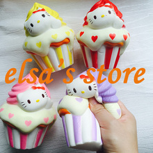 1pcs kawaii squishy jumbo pink hello kitty icecream squishy toy soft charm phone straps Free Shipping(China)