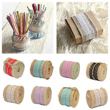10 Colors 1 Meter Natural Jute Ribbon with White Yellow Ivory Black Lace Wedding Party Decoration Wholesale Retail(China)