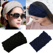 1Pcs Knitted Women Stretch Twist Headbands Turban Girl Head Band Crochet Winter Warmer Wide Ear Hairband Hair Accessories(China)