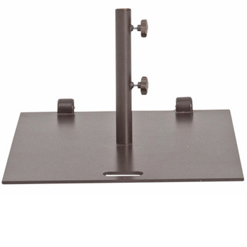 Abba Patio 53 lb. Square Steel Market Patio Umbrella Base Stand with Wheel and 2 Separate Poles 24''L x 24''W