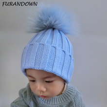 FURANDOWN 2017 New Fashion Kids Girls Winter Hat Warm Knit Beanies 15cm Dyed Real Raccoon Fur Hats For Children Baby(China)