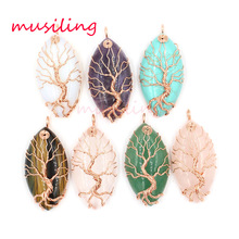 Horse Eye Tree of Life Necklace Pendants Pendulum Natural Stone Reiki Wicca Witch Amulet For Women Men Fashion Jewelry 10pcs(China)