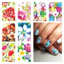WUF 1 Sheet Optional Nail Sticker Water Adhesive Foil Nail Art Decorations Tool Water Decals 3d Design Nail Sticker Makeup