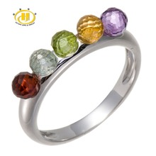 Hutang 100% Multi Color Gemstones Beads 5-Stone Solid 925 Sterling Silver Ring Fine Jewelry(China)