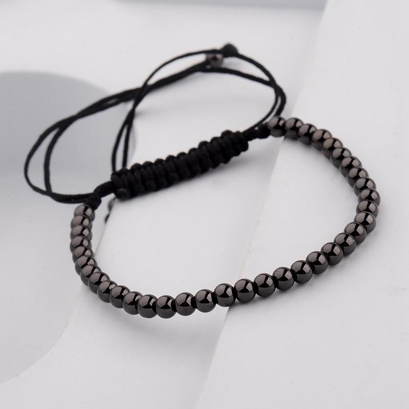 DOUVEI 17 New Black Diy Design Pave CZ Ball Charm Bracelet Men Women Braided Macrame Copper Beads Jewelry Gift For Men Women 6