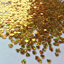 JOY-ENLIFE 1000pcs 3mm Gold shine Sparkle heart Wedding Party Confetti Table Decoration Bachelorette Party Decorative Supplies(China)
