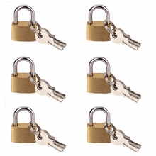 6 PCS 20 MM Small Metal Padlock Mini Brass Tiny Lock Travel Luggage Suitcase Bag Padlocks With Key Anti-theft Locks