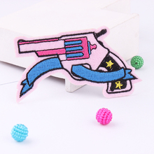 Embroidery Patches For Clothing 1Pcs Gun  Iron On Patches Punk Motif Applique DIY Accessory Clothes Stickers