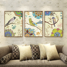 Vintage Flowers And Birds Art Canvas Prints Antique Decor Wall Painting Retro Style Pastoral Rural Home Decor Pictures No Frame