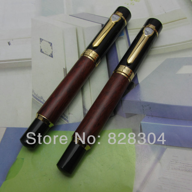 2Pcs Wholesale Jin Hao heavy red wood pattern texture medium nib roller pen +Fountain Pen Free Shipping<br>