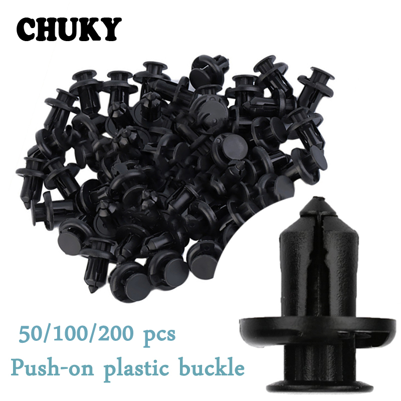 50X 8mm Auto Car Bumper Fender Retainer Push Black Plastic Fixed Clips`Fasteners