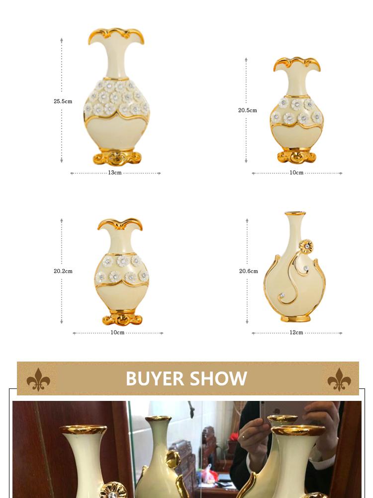Europe Handpainted Gold Plated Porcelain Vase Modern Advanced Ceramic Flower Room Study Hallway Home Wedding Decoration