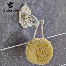 Yanjun Coat Scroll Hooks Holder Door Wardrobe Robe Clothes Hangers for Bathroom Bedroom Zinc Alloy Ivory White YJ-7750(China)